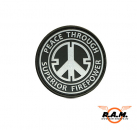 3D - Peace Rubber Patch -Through Superior Firepower - schwarz