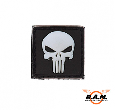 3D - Punisher Patch (WEISS) 2,5 x 2,5 cm