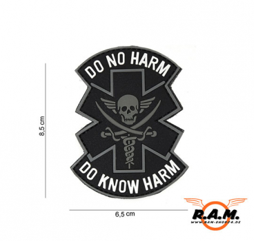 3D Rubber Patch - DO NO HARM - DO KNOW HARM - Black